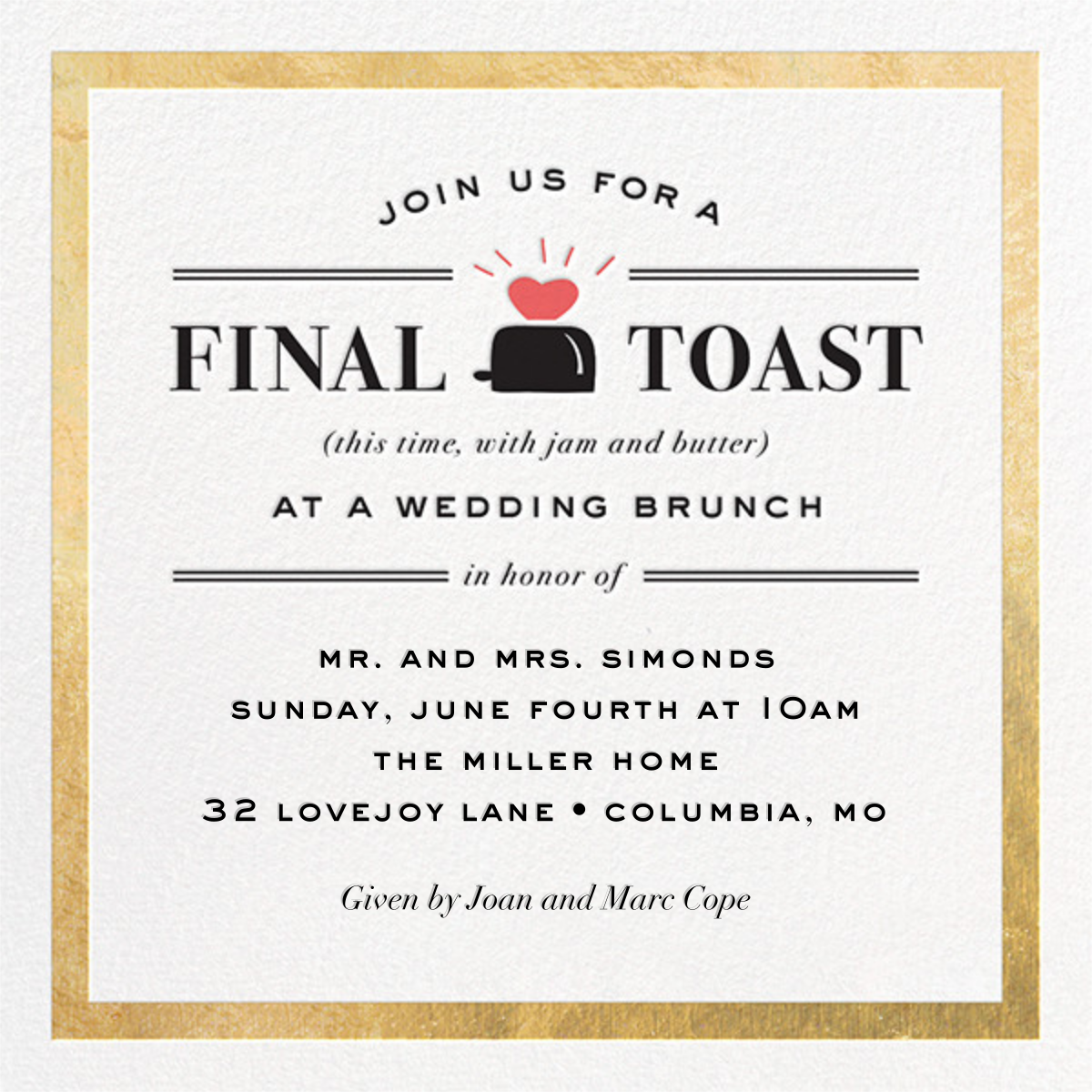 Toast of the Town - Gold - Cheree Berry - Wedding brunch