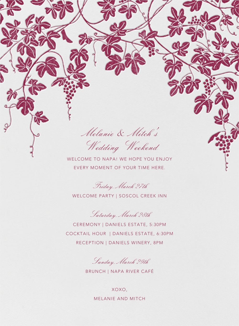 Vineyard I (Welcome Letter) - Burgundy - Paperless Post - Welcome letters