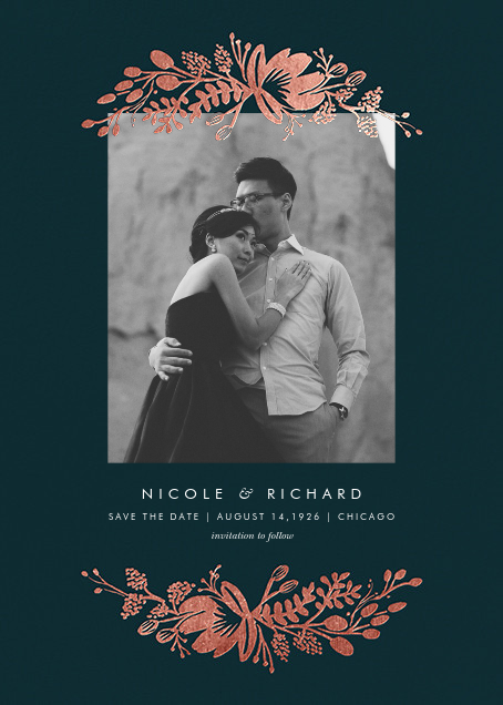 Floral Silhouette (Portrait Photo) - Midnight Green/Rose Gold - Rifle Paper Co. - Photo