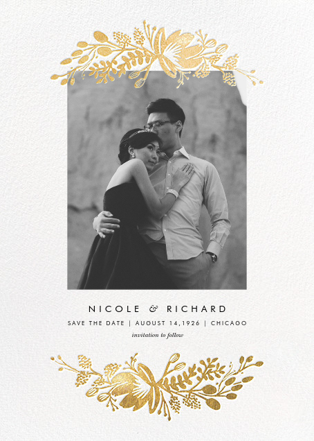 Floral Silhouette (Portrait Photo) - White/Gold - Rifle Paper Co. - Gold and metallic