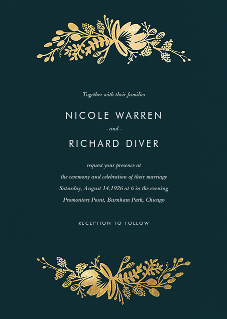Floral Silhouette (Invitation) - Midnight Green/Gold - Rifle Paper Co.