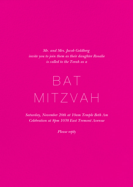 Guiding Star (Photo) - Bright Pink/Millet - Paperless Post - Bat and bar mitzvah - card back