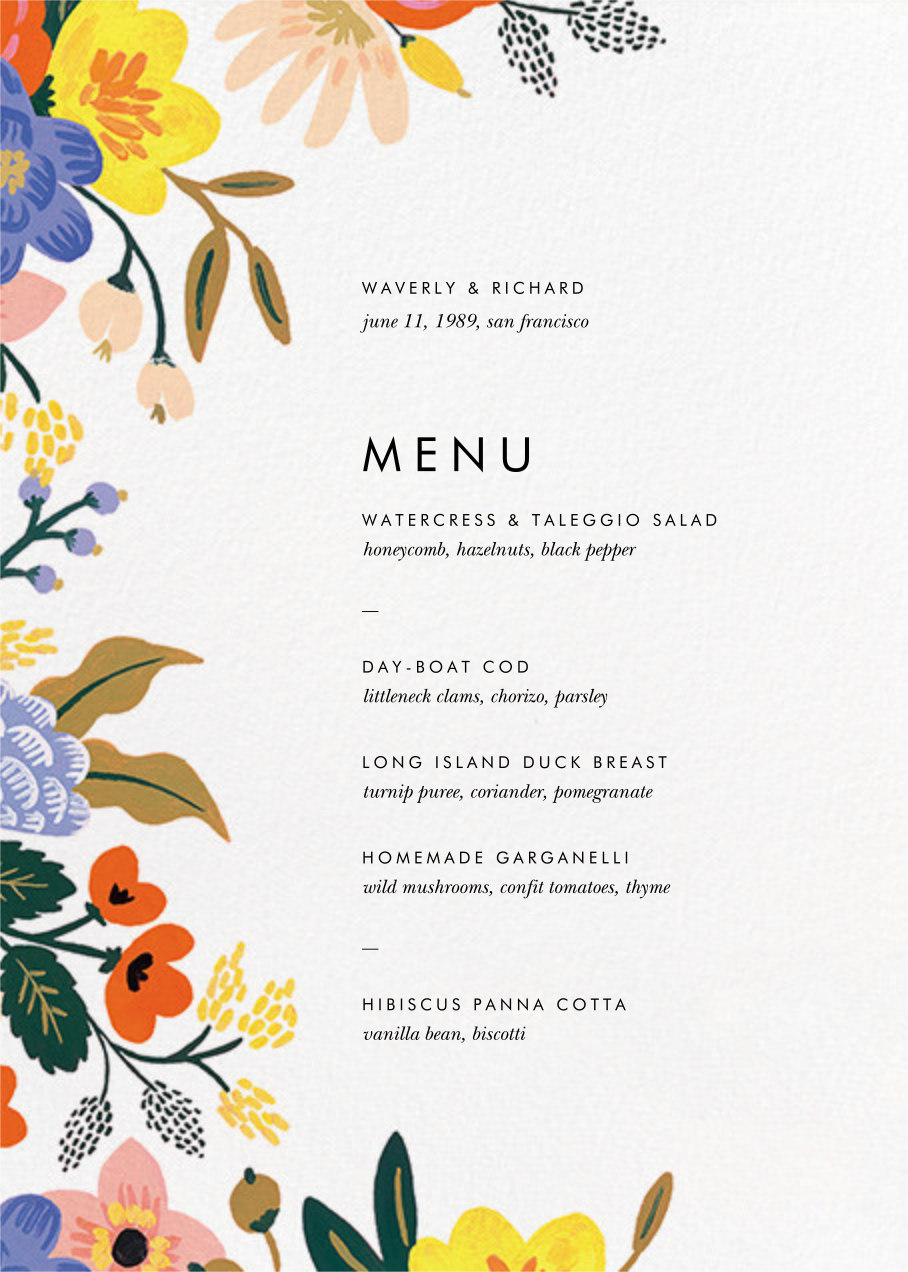 Vivid Florals (Menu) - Rifle Paper Co. - Menus and programs