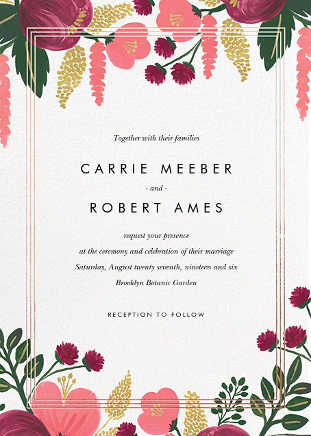 Raspberry Floral (Invitation) - Rose Gold - Rifle Paper Co. - All