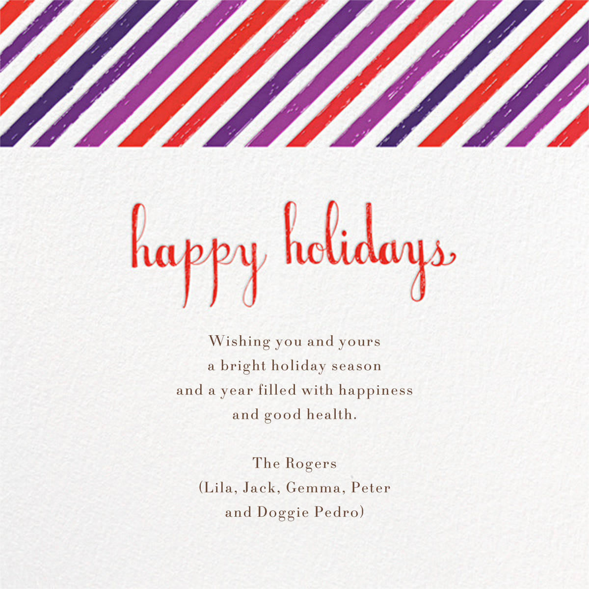 Fido's Knotted Stocking (Square) - Purple - Mr. Boddington's Studio - Holiday cards - card back