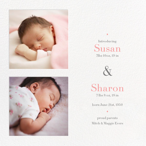 Twin Squares - Twins - Paperless Post - Birth
