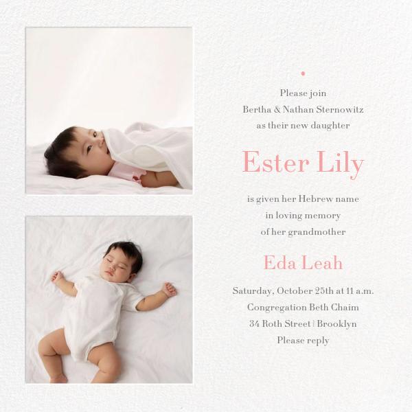 Twin Squares - Baby Naming - Paperless Post - Baby naming and bris