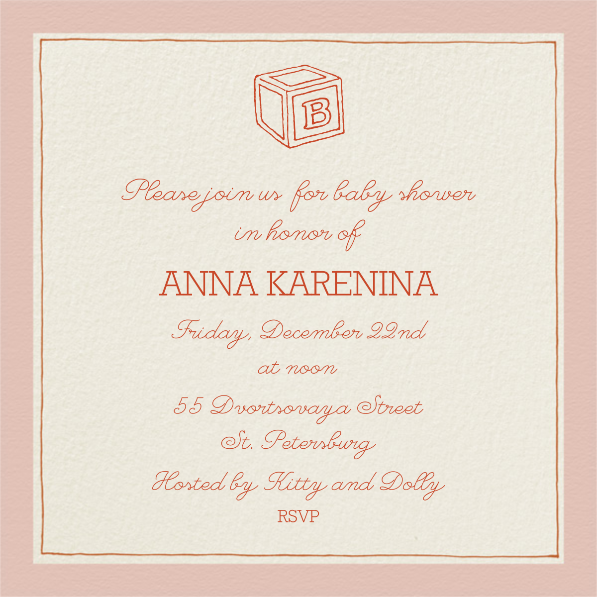 Drawn Seal Border - Antique Pink - Paperless Post - Baby shower