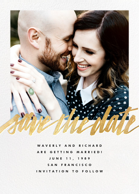 Clarissa (Square Photo) - Gold - Paperless Post - Party save the dates