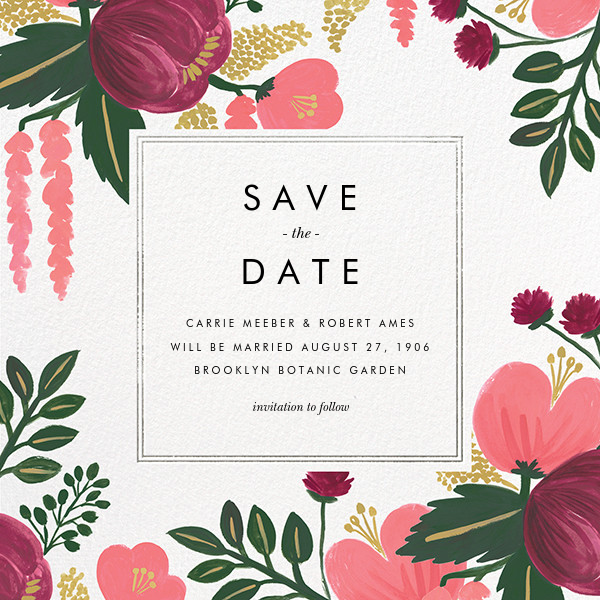Raspberry Floral (Save the Date) - Silver - Rifle Paper Co. - Save the date