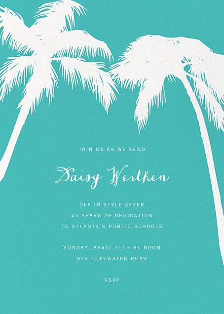 Tropical Palm - Lagoon - Paperless Post - Retirement party