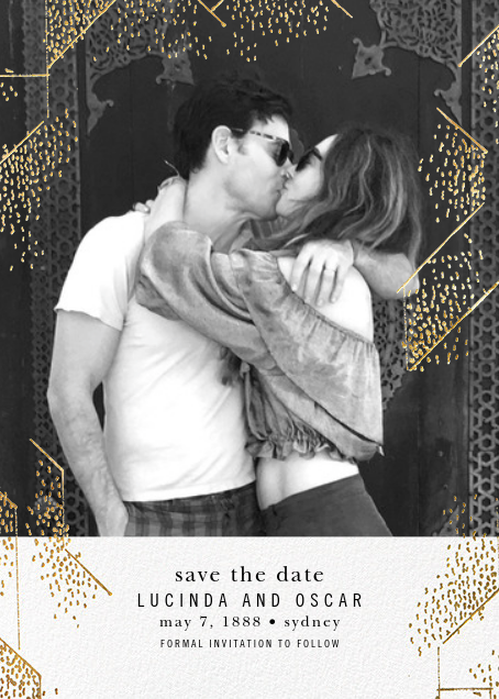 Brink (Photo Save the Date) - White - Kelly Wearstler - Gold and metallic