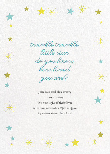 Stars over Tiny Town - Blue/Yellow - Little Cube - Baby shower