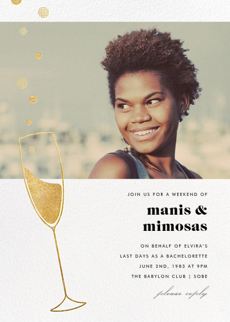 Champagne Bubbles (Photo) - Gold - Paperless Post - Bachelorette party