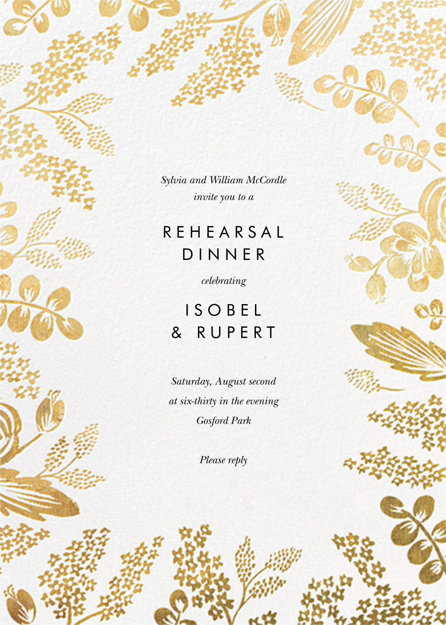 Heather and Lace (Invitation) - White/Gold - Rifle Paper Co. - Rehearsal dinner