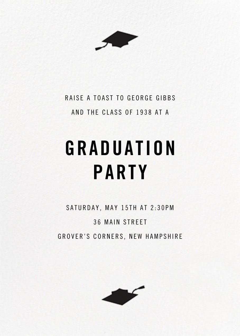 Confetti Caps (Photo) - Silver - Paperless Post - Graduation party - card back