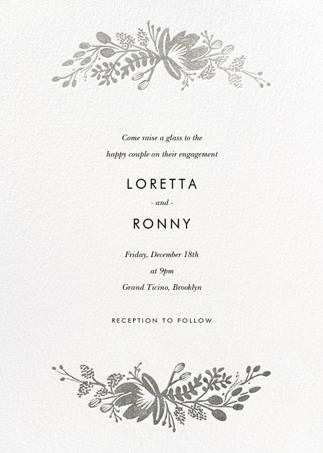 Floral Silhouette - White/Silver - Rifle Paper Co. - Engagement party