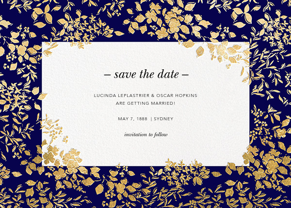 Richmond Park (Save the Date) - Navy/Gold - Oscar de la Renta - Party save the dates