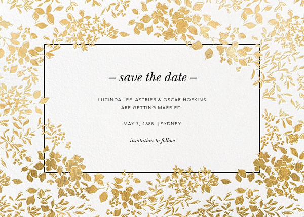 Richmond Park (Save the Date) - White/Gold - Oscar de la Renta - Party save the dates