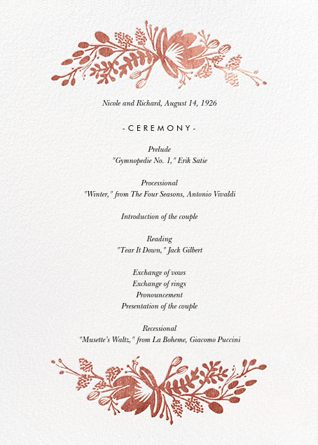 Floral Silhouette (Program) - White/Rose Gold - Rifle Paper Co. - Menus and programs