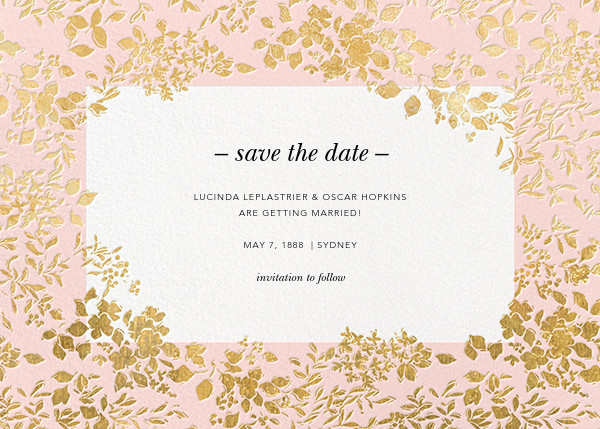 Richmond Park (Save the Date) - Pink/Gold - Oscar de la Renta - Save the date