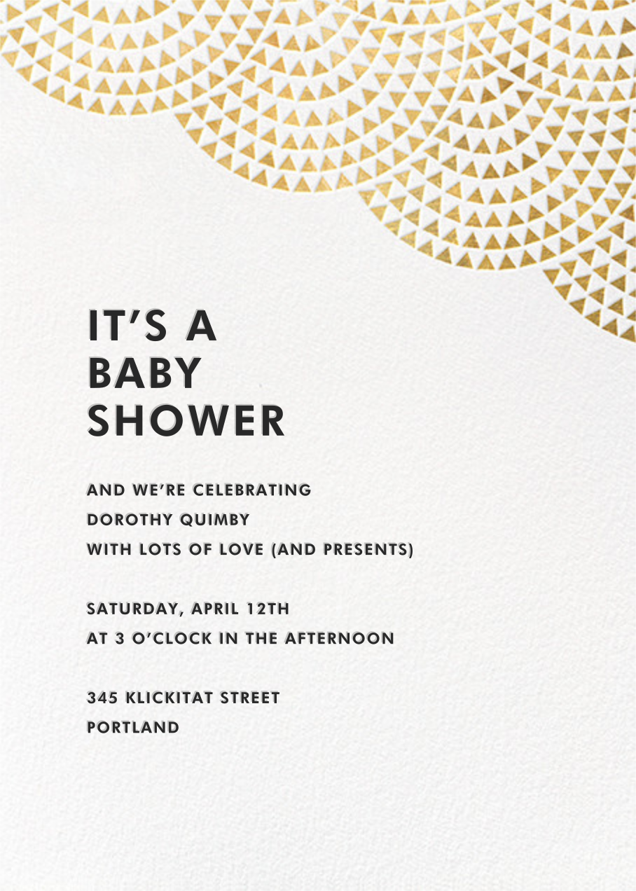 Savoy (Tall) - Gold - Paperless Post - Baby shower