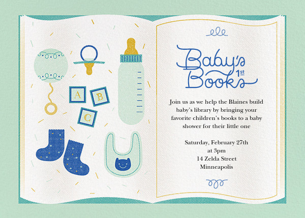 Baby's First Library - Mint - Paperless Post - Baby shower