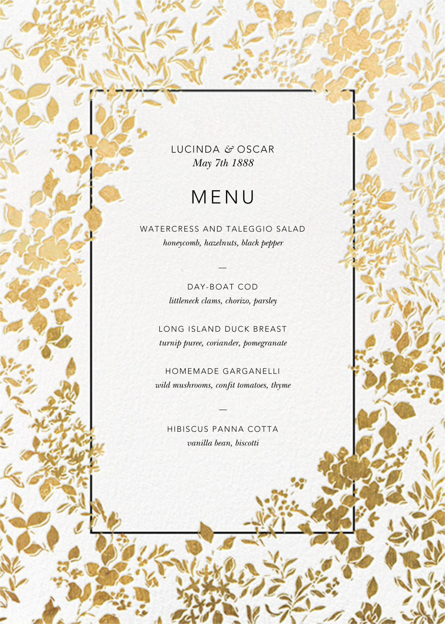 Richmond Park (Menu) - White/Gold - Oscar de la Renta - Menus and programs