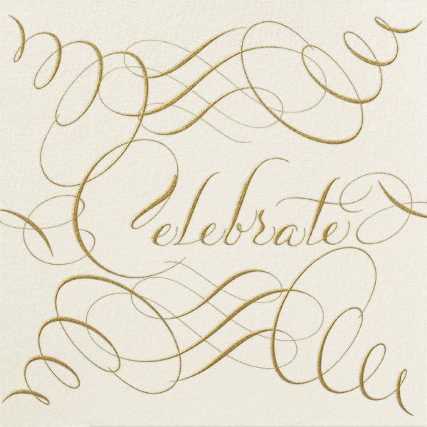 Celebrate Script - Cream/Gold - Bernard Maisner - Cocktail party