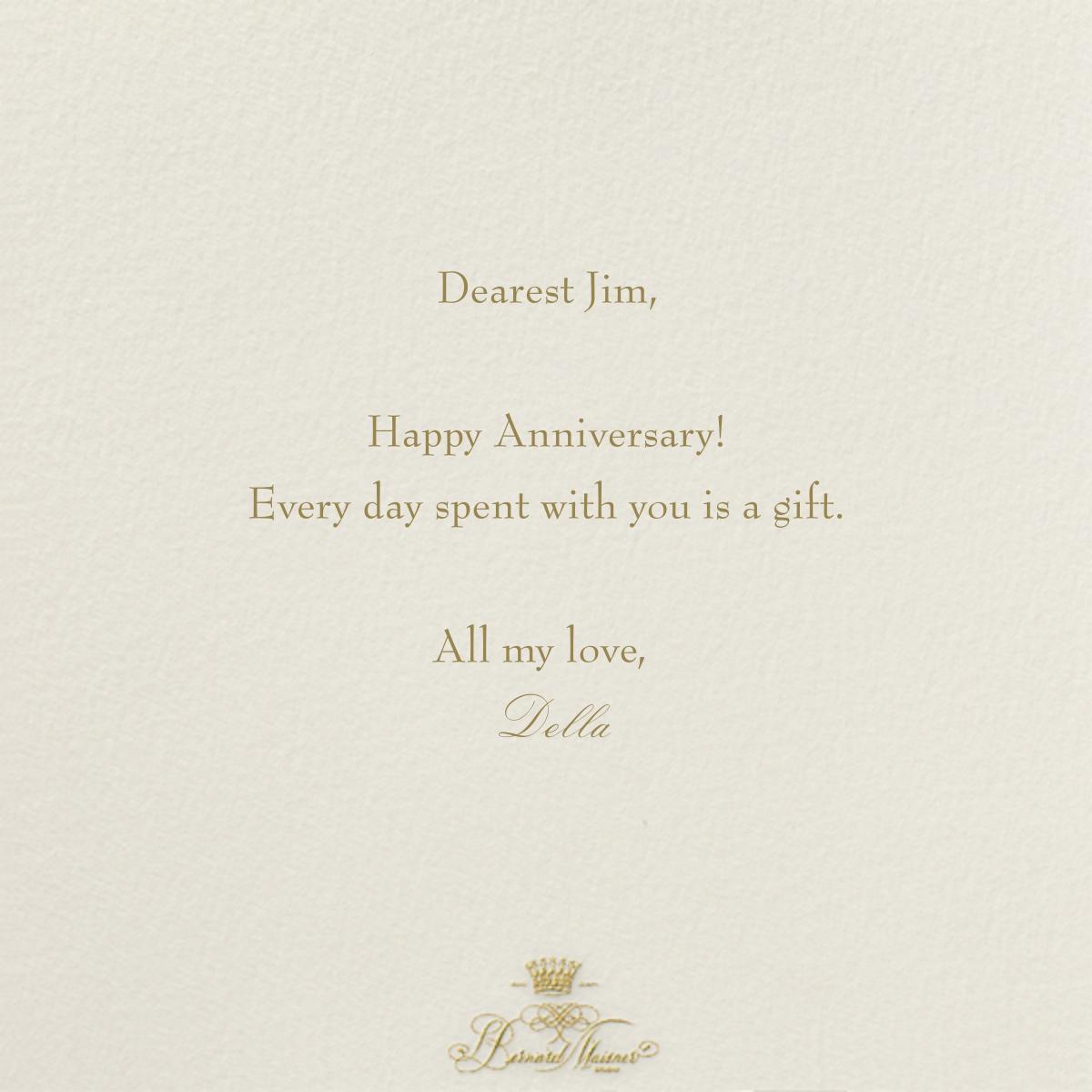 Happy Anniversary Script - Cream and Gold - Bernard Maisner - Anniversary - card back