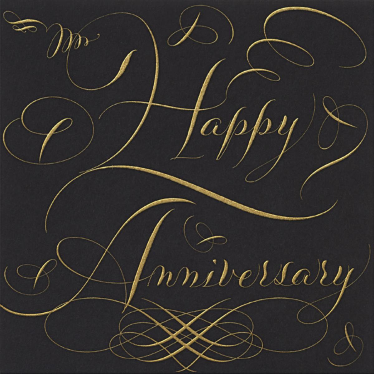 Happy Anniversary Script - Black and Gold - Bernard Maisner - Anniversary cards