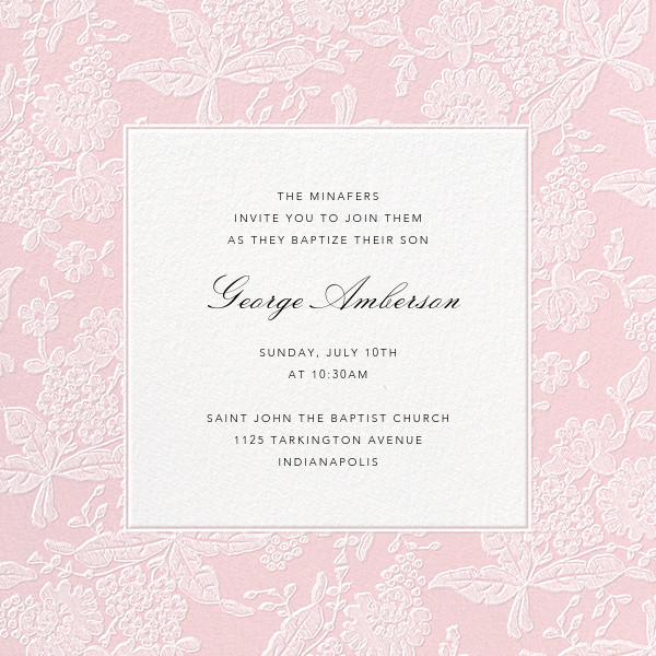Hydrangea Lace I (Square) - Pink - Oscar de la Renta - Baptism