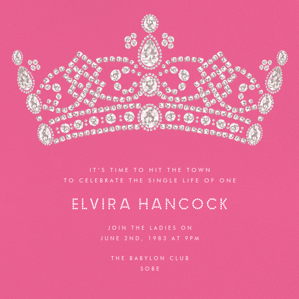 Tiara - Pink - Paperless Post - Bachelorette party