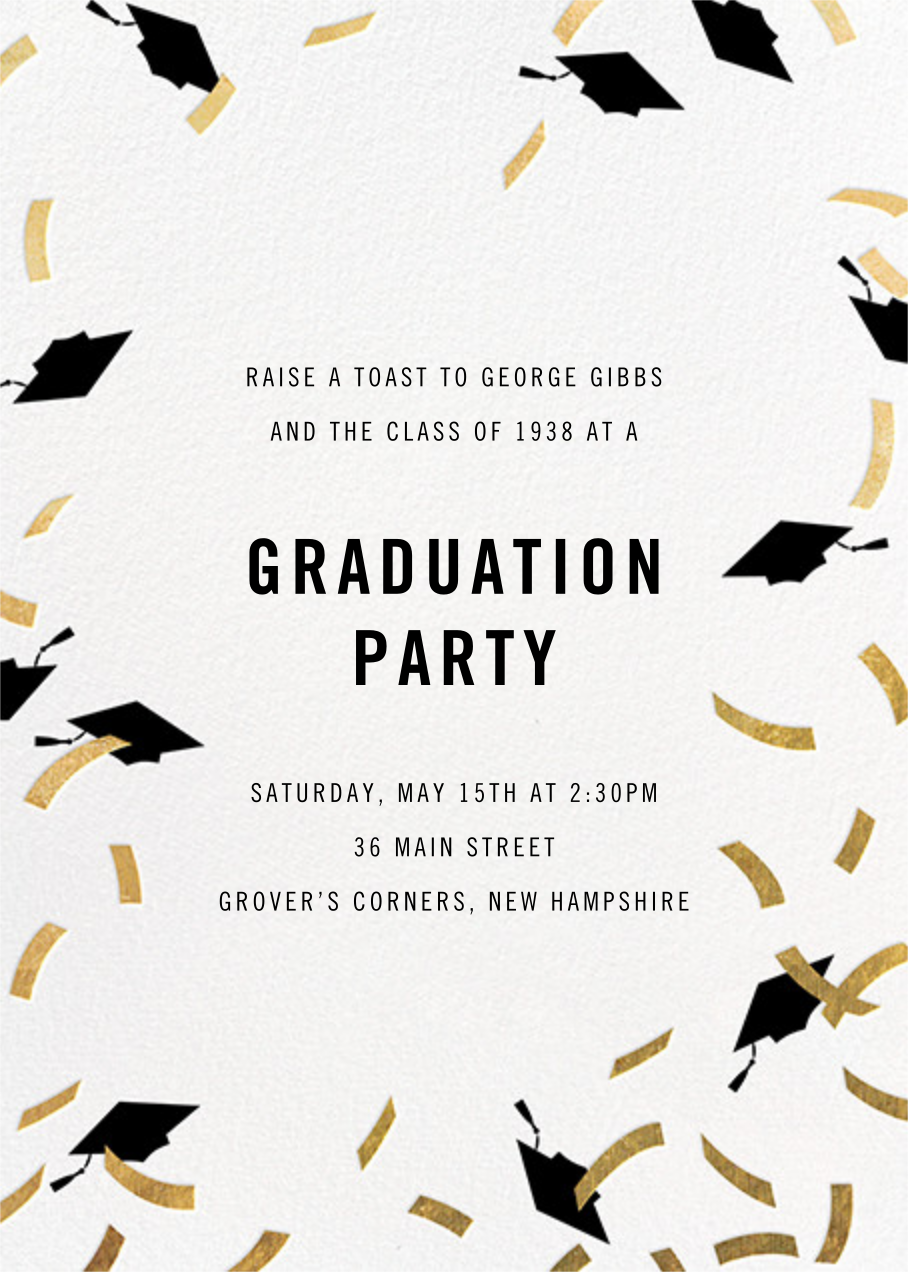Confetti Caps - Gold - Paperless Post - Graduation party