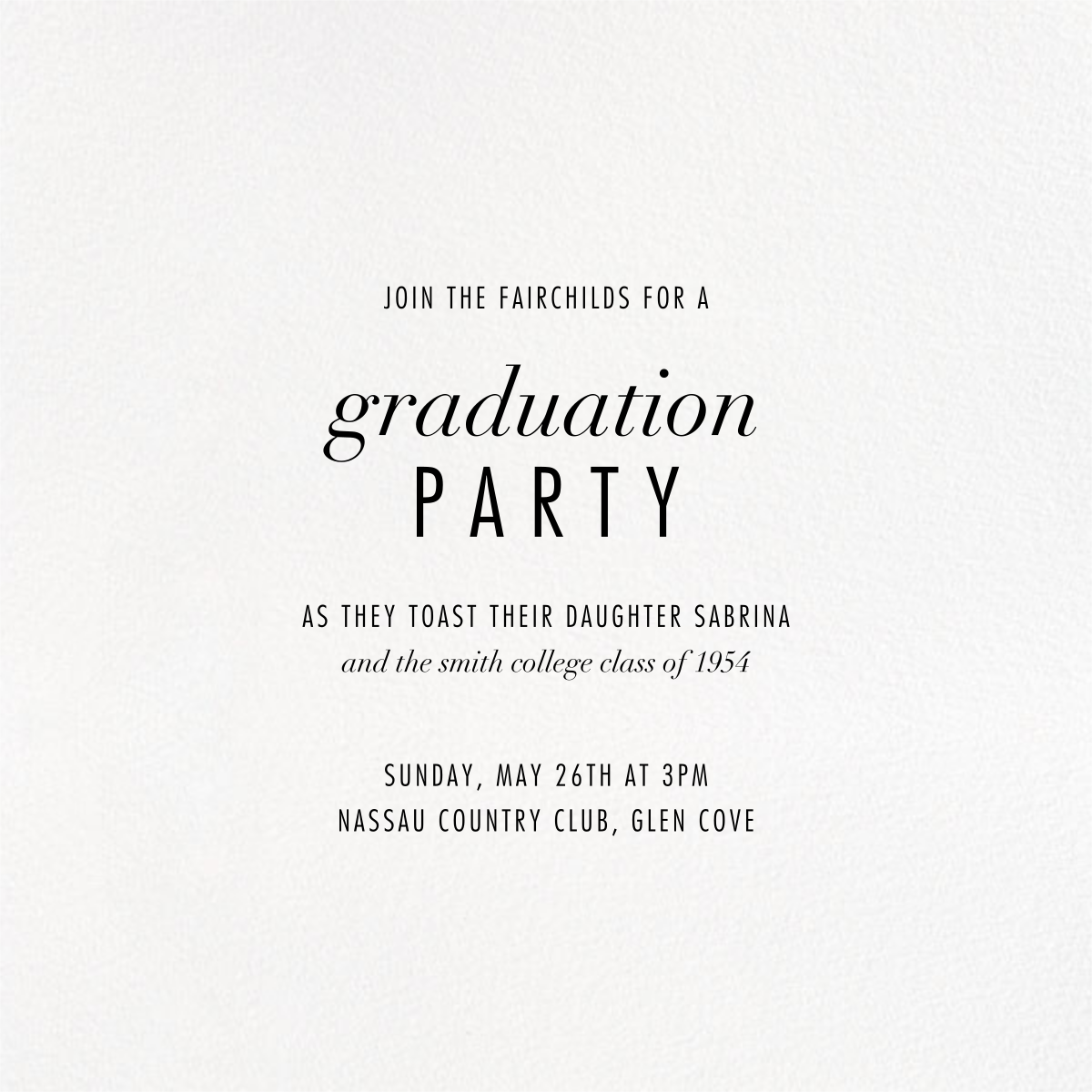 Evoke (Square Photo) - Gold - Kelly Wearstler - Graduation party - card back