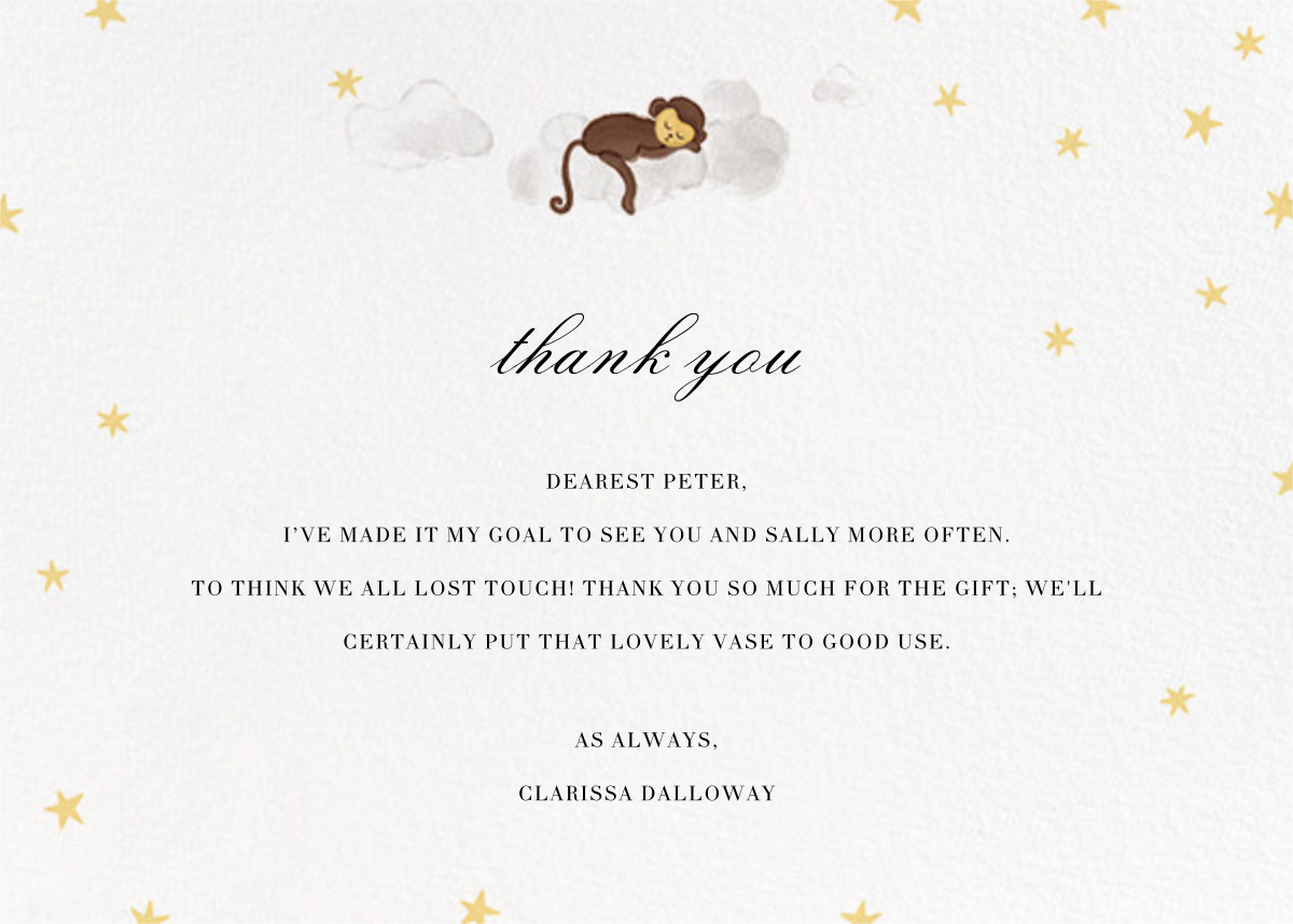 Starry Slumber (Stationery) - Monkey - Paperless Post - Baby and kids'