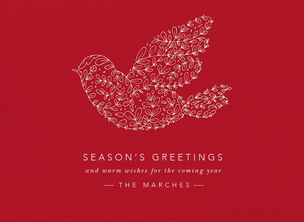 Vine Dove - White (Engraving) - Paperless Post - Holiday cards