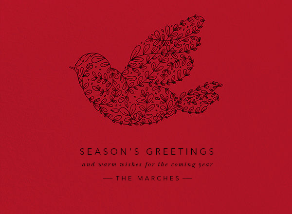 Vine Dove - Black (Thermo) - Paperless Post - Holiday cards
