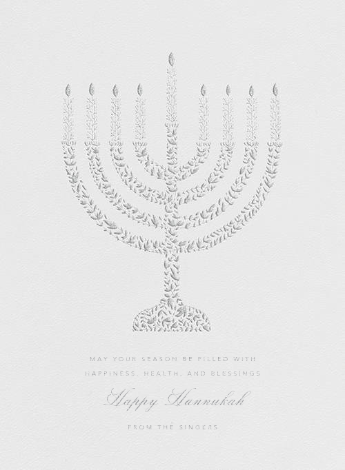 Vine Menorah - Platinum - Paperless Post - Hanukkah