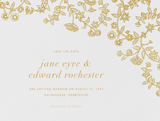 Stitched Floral I - Medium Gold (Save the Date) - Oscar de la Renta