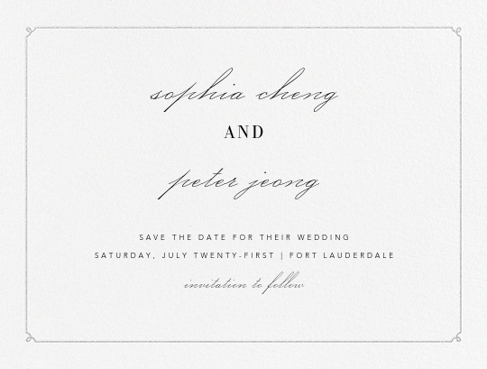 Ledger (Save the Date) - Platinum - Vera Wang - Save the date