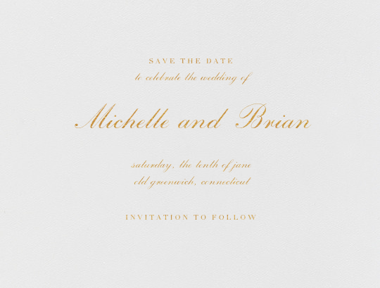 English (Save the Date) - Gold - Vera Wang - Classic
