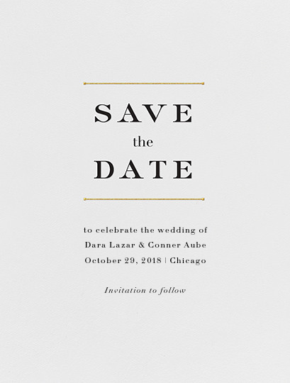 Roman (Save the Date) - Gold - Vera Wang - Classic
