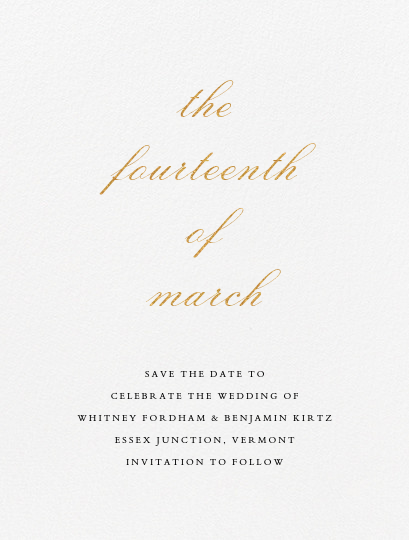 Ligature (Save the Date) - Gold - Vera Wang - Classic