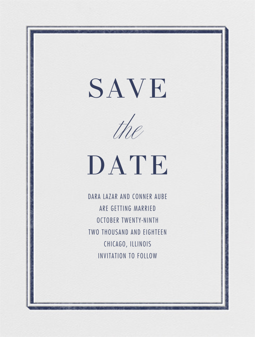 Parapet (Save the Date) - Navy - Vera Wang - Save the date