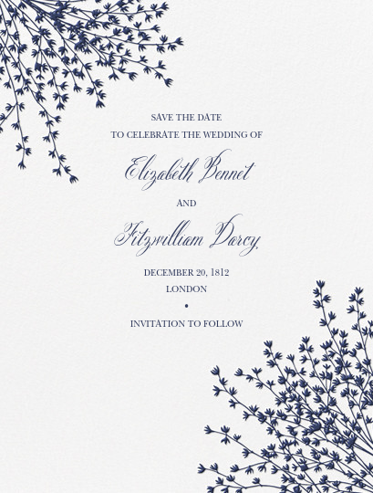 Forsythia (Save the Date) - Navy - Crane & Co. - Save the date