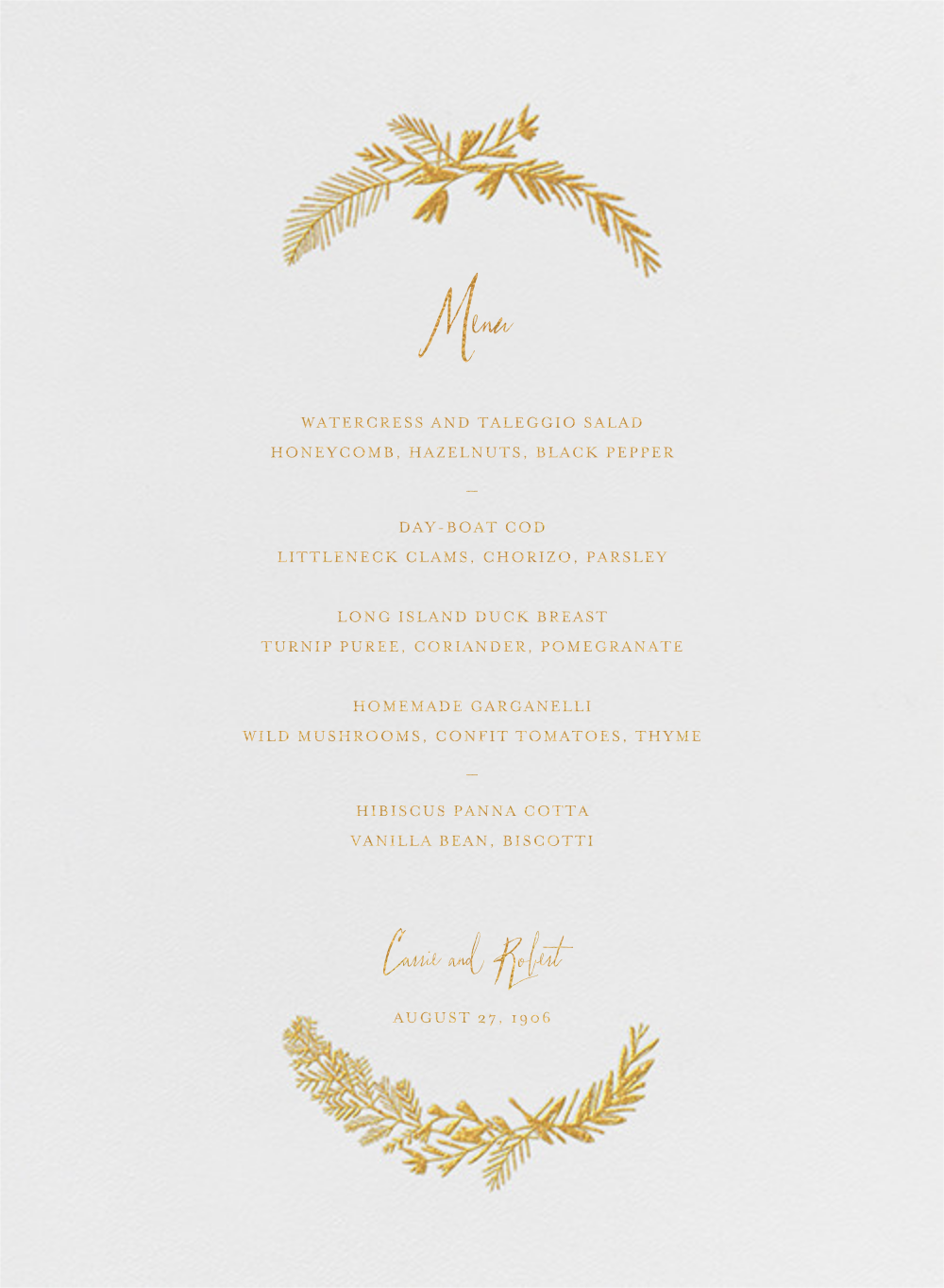 Miss Mimi Margeaux I (Menu) - Gold - Mr. Boddington's Studio - Menus