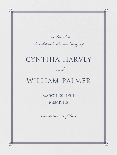 Double Loop Frame I (Save the Date) - Navy - Paperless Post - Classic