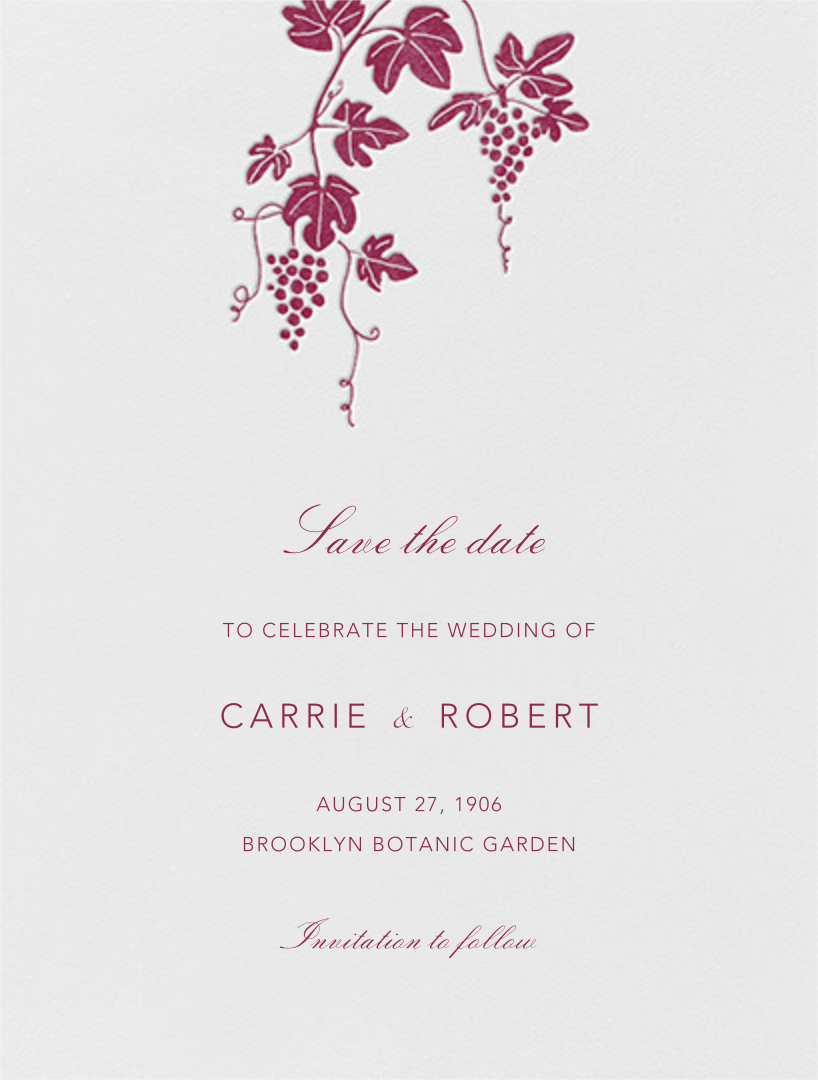 Vineyard I (Save the Date) - Burgundy - Paperless Post - Save the date