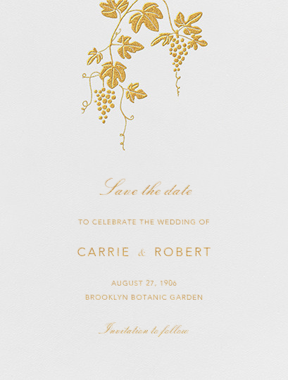 Vineyard I (Save the Date) - Gold - Paperless Post - Save the date